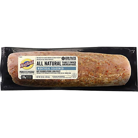 Hatfield Pork Loin Filet Dry Rub Seasoned Montreal Style - 22 Oz