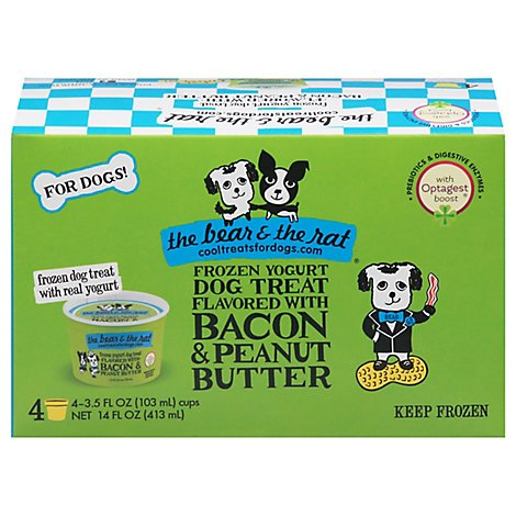 The Bear & The Rat Dog Treat Frozen Yogurt Flavored With Bacon & Peanut Butter - 4-3.5 Fl. Oz.