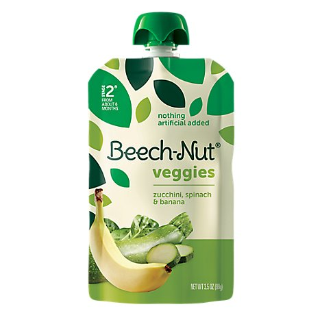 Beech-Nut Baby Food Veggies Stage 2 Zucchini Spinach & Banana - 3.5 Oz