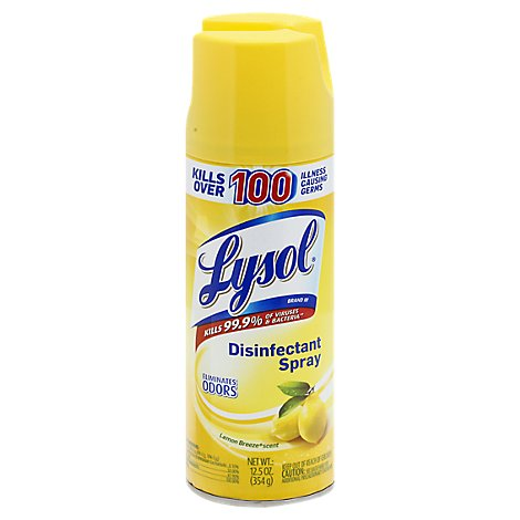 Lysol Disinfectant Spray Lemon Breeze Scent - 12.5 Oz