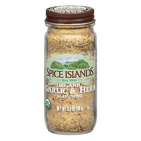 Spice Islands Seasoning Organic Garlic & Herb - 3.2 Oz