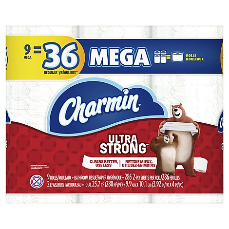 Charmin Ultra Strong Bathroom Tissue Mega Rolls 2 Ply - 9 Roll