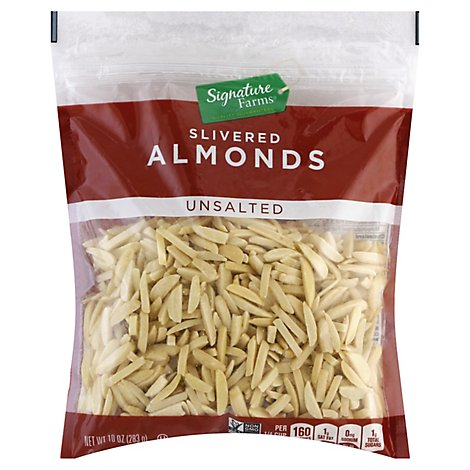 Signature Farms Almonds Slivered Unsalted - 10 Oz