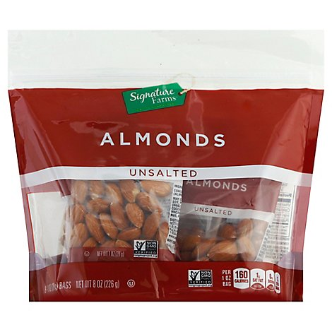 Signature Farms Almonds Natural Unsalted Multipack - 8-1 Oz