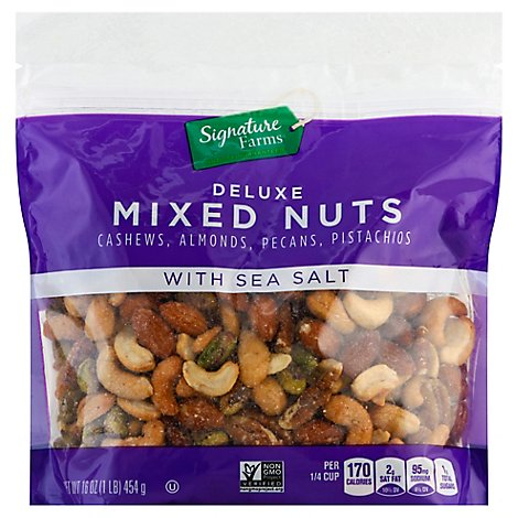 Signature Farms Deluxe Mixed Nuts With Sea Salt - 16 Oz