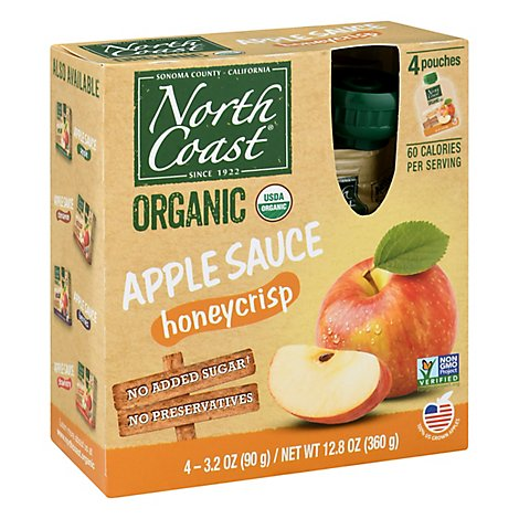 North Coast Apple Sauce Honey Crisp 4 Pk - 12.8 Oz