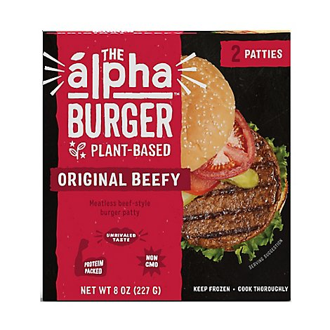 Alpha Foods Burger Patties Plant Based Original Beefy - 8 Oz