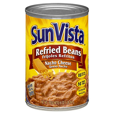 Sun Vista Nacho Cheese Refried Beans - 16 Oz