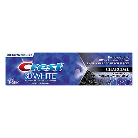 Crest 3D White Toothpaste Fluoride Anticavity Charcoal - 4.1 Oz