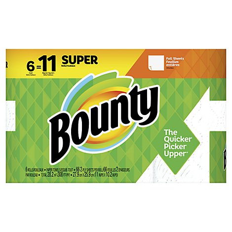 Bounty Paper Towel Full Super Rolls 2 Ply Sheets White - 6 Roll