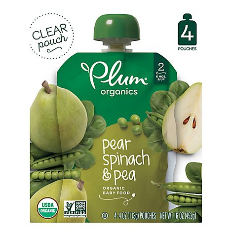 Plum Organics Organic Baby Food 2 (6 Months & Up) Pear Spinach & Pea - 4-4 Oz
