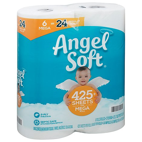 Angel Soft Toilet Paper 6 Mega Rolls - 6 Roll