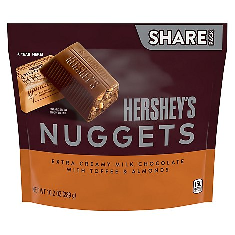 HERSHEYS Nuggets Milk Chocolate Extra Creamy With Toffee & Almonds Share Pack - 10.2 Oz