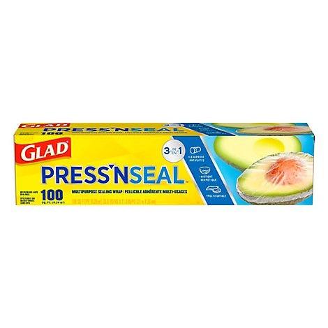 Glad Press n Seal Plastic Sealing Wrap Multipurpose 100 Sq. Ft. - Each