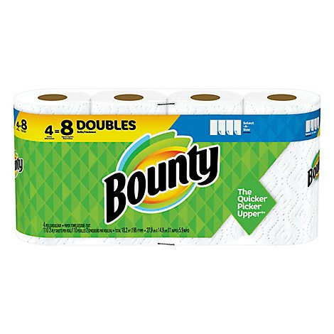 Bounty Paper Towel Select A Size Double Rolls 2 Ply Sheets White - 4 Roll