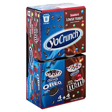 YoCrunch Yogurt Lowfat Strawberry With Oreo Cookies & Cream & M&Ms - 8-6 Oz