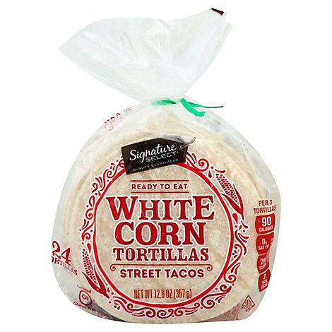 Signature Select Tortilla White Corn Street Taco 24ct - 12.6 Oz