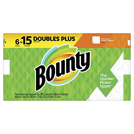 Bounty Paper Towels White Double Plus Full Sheets - 6 Roll