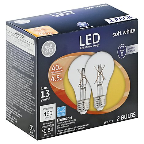 GE Light Bulbs LED Soft White General Purpose Dimmable 60 Watts A19 - 2 Count