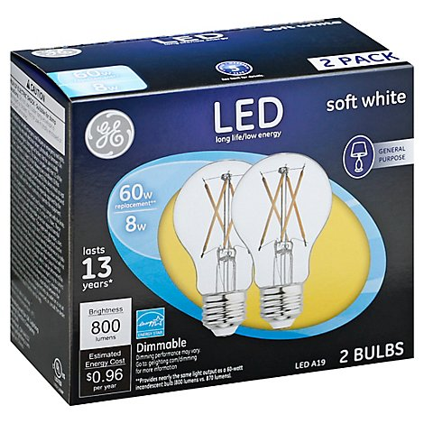 GE 7w 60w Led A Line Clear 2ct - Each