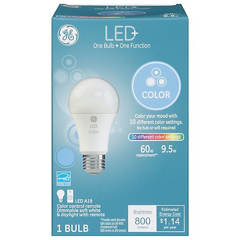 GE Light Bulb LED+ Color With Remote 60 Watts A21 - Each