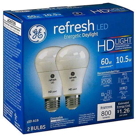 GE Light Bulbs Refresh LED HD Light Daylight Dimmable 60 Watts A19 - 2 Count
