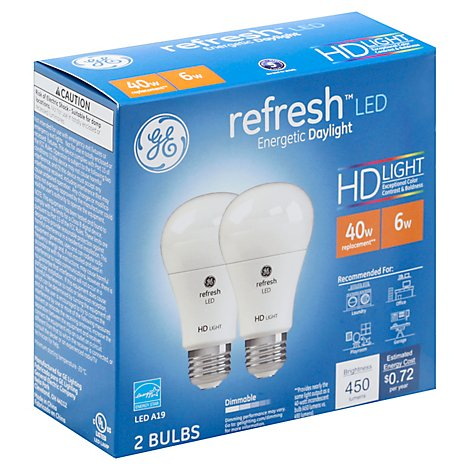 GE Light Bulbs Refresh LED HD Light Daylight Dimmable 40 Watts A19 - 2 Count