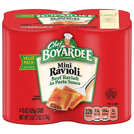 Chef Boyardee Ravioli Mini Beef In Tomato & Meat Sauce Value Pack - 4-15 Oz