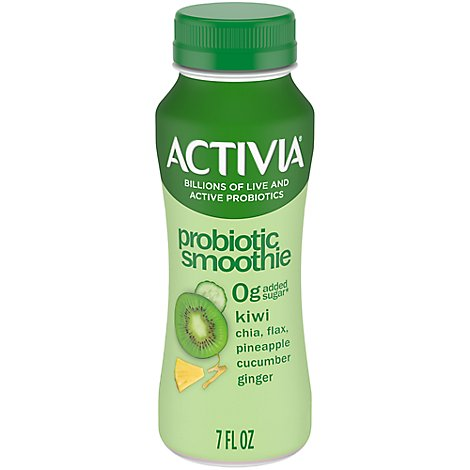 Activia Probiotic Smoothie Chia Flax Hemp Seeds Pineapple Kiwi Cucumber & Ginger - 7 fl. Oz