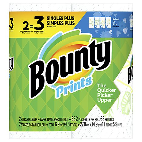 Bounty Paper Towel Select A Size Singles+ Rolls 2 Ply Sheets Prints - 2 Roll