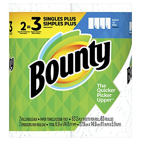 Bounty Paper Towel Select A Size Singles+ Rolls 2 Ply Sheets White - 2 Roll
