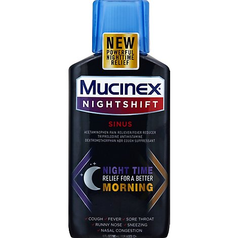 Mucinex Nightshift Sinus Medicine Night Time Relief Liquid - 6 Fl. Oz.