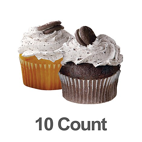 Cupcakes Chocolate & Yellow Cookies & Cream Iced 10ct