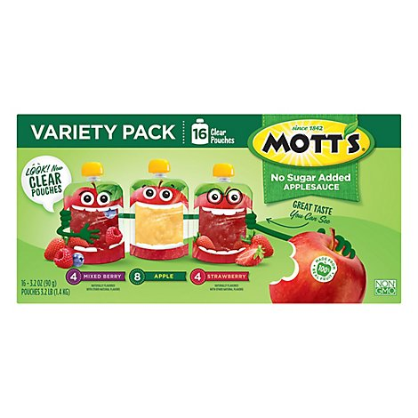Motts 3 Flavor Unsweetened Apple Sauce Pouch 16 Count - 51.2 Oz