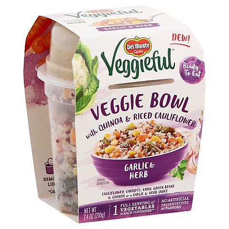 Del Monte Veggieful Veggie Bowl With Quinoa & Riced Cauliflower Garlic & Herb - 7.4 Oz