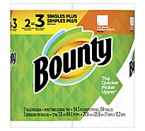 Bounty Paper Towel Full Singles+ Rolls 2 Ply Sheets White - 2 Roll