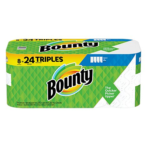 Bounty Paper Towels Select A Size Triple Rolls White - 8 Roll