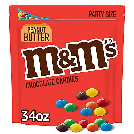 M&Ms Candies Chocolate Peanut Party Size - 34 Oz