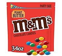 M&Ms Chocolate Candy Peanut Butter Party Size Bag - 34 Oz