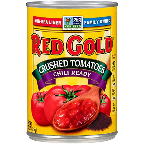 Red Gold Crushed Tomatoes Chili Ready - 15 Oz
