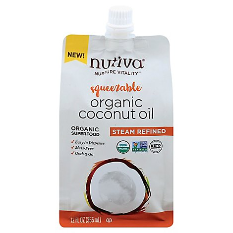 Nutiva Organic Oil Coconut Steam Refined Squeezable - 12 Oz