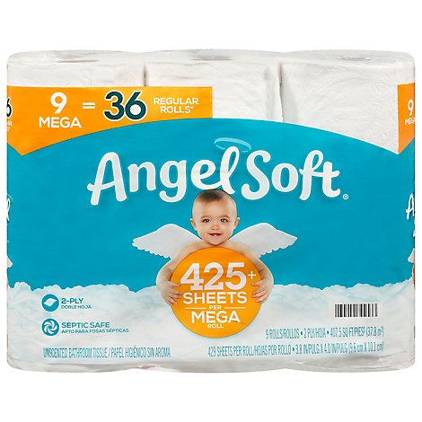 Angel Soft Bathroom Tissue Unscented Mega Rolls 2 Ply Sheets - 9 Roll