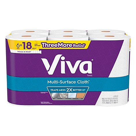 Viva Multi Surface Cloth Paper Towels Choose A Sheet Huge Roll - 6 Roll