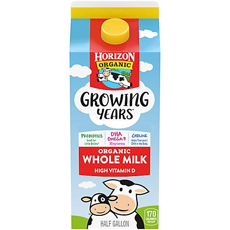 Horizon Organic Milk Whole Growing Years - 0.5 Gallon