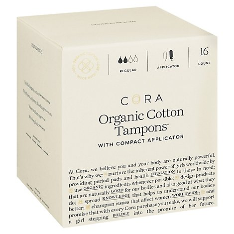 Cora Tampons Premium Organic Cotton With Compact Applicators Regular - 16 Count