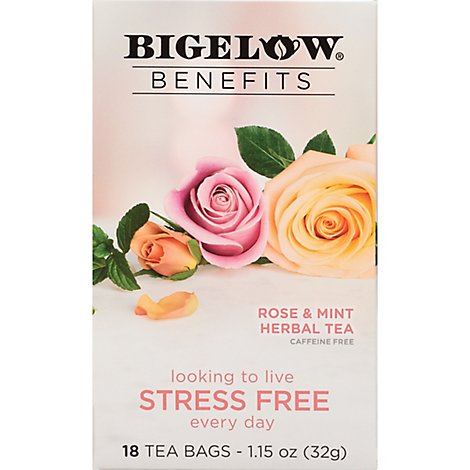 Bigelow Benefits Herbal Tea Caffeine Free Rose & Mint 18 Count - 1.15 Oz