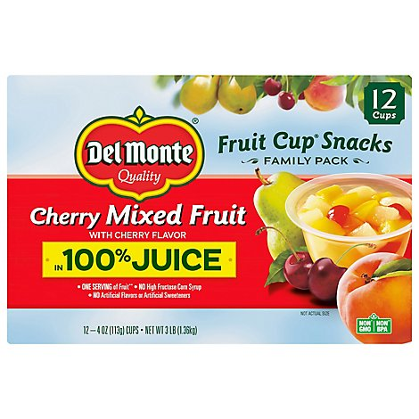 Del Monte Fruit Cups Cherry Mixed Fruit - 12-4 Oz