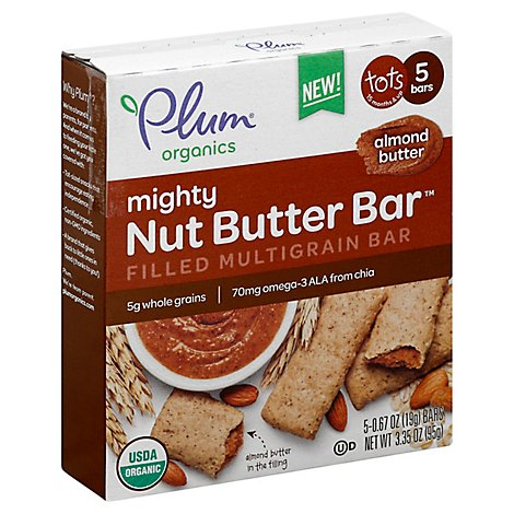 Plum Organics Mighty Nut Butter Bar Tots Almond Butter - 5-0.67 Oz