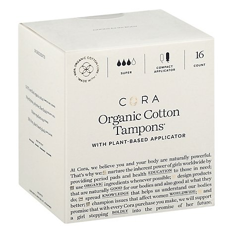 Cora Tampons Premium Organic Cotton With Compact Applicators Super - 16 Count