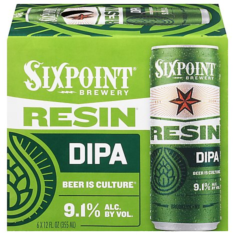 Sixpoint Resin beer IIPA Cans - 6-12 Fl. Oz.